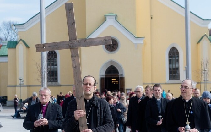 The celebration of Good Friday in Front of St. John's Church (Jaani kirik) in Freedom Square in Tallinn in April.