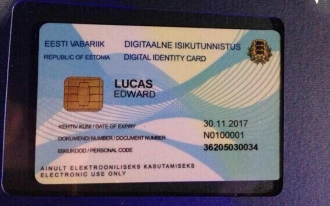 Edward Lucas' e-reident digital ID card.