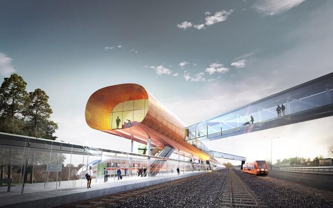 Rail Balticu Pärnu reisijate terminali arhitektuurikavand.
