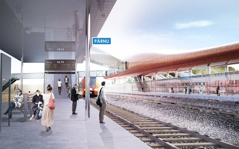 "Render of the ""Water Strider"" design for the Rail Baltic station in Pärnu."