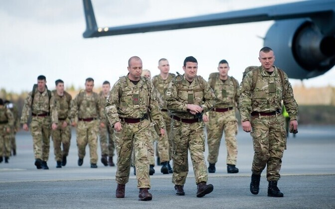 British soldiers arriving in Estonia for the annual Spring Storm exercise.