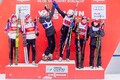 Women's team sprint podium.