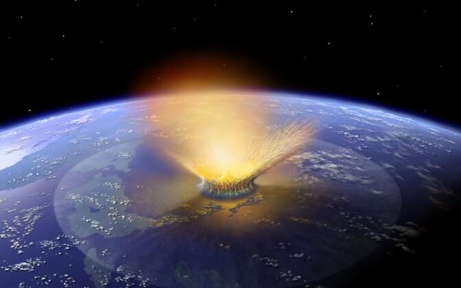 Kunstniku nägemus 10-kilomeetrise läbimõõduga Maad tabavast asteroidist.