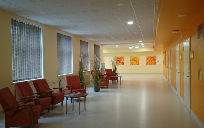 A quiet hallway at the East-Tallinn Central Hospital (ITK).