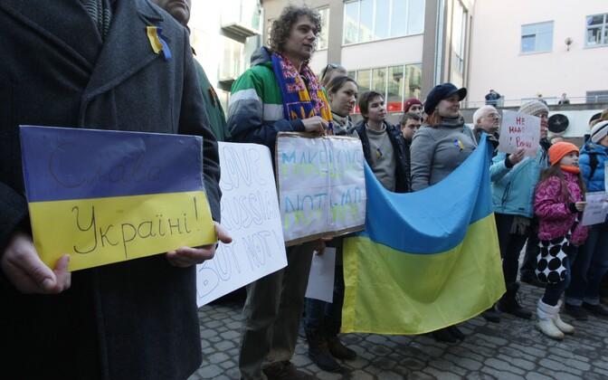Eelmise aasta märtsis protestisid tartlased Venemaa tegevuse vastu Ukrainas.