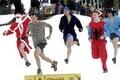 Contestants running towards the next sauna during Otepää sauna marathon
