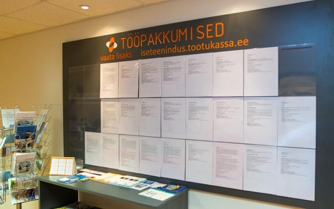 Job ads at a branch of the Unemployment Insurance Fund (Töötukassa).