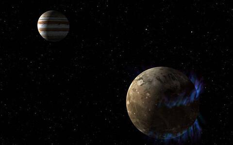 Ganymedes ja Jupiter.