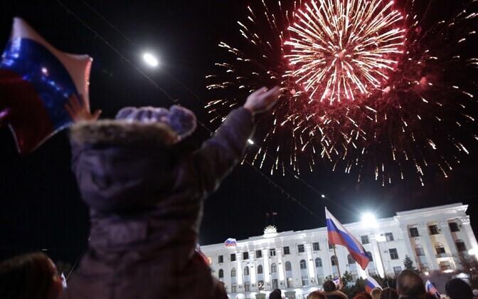 Simferopolis tähistati eile Krimmi nn rahvahääletuse aastapäeva.