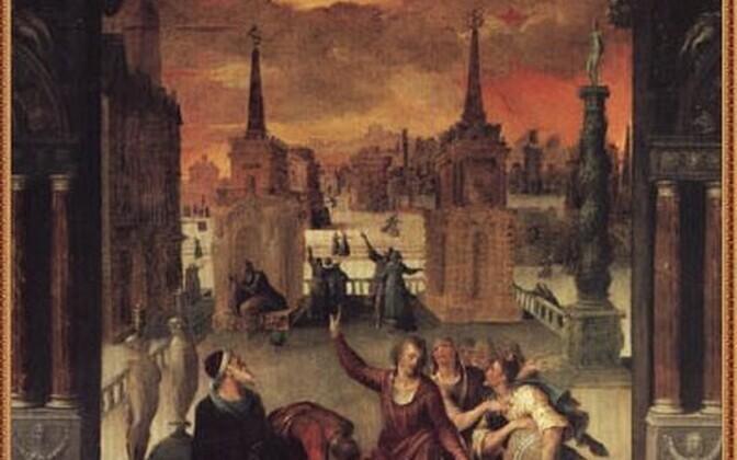 Osa prantsuse kunstniku Antoine Caroni päikesevarjutust kujutavast maalist, mis pärineb aastast 1571.