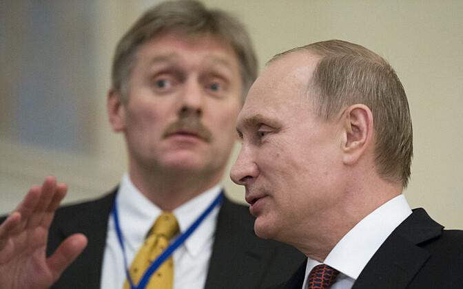 Venemaa president Vladimir Putin ja tema pressisekretär Dmitri Peskov 12. veebruaril Minskis