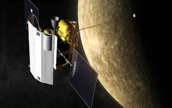 Kunstniku nägemus Merkuuri ümber tiirlevast Messengerist.