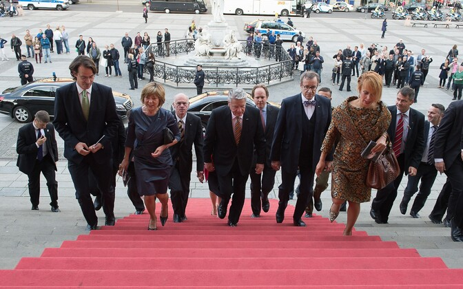 German and Estonian president arriving at a concert devoted to Arvo Pärt at Kontzerthaus Berlin.