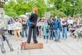 Scandal-ridden former liberal MEP Kristiina Ojuland giving a speech at the anti-immigration gathering in Tallinn.