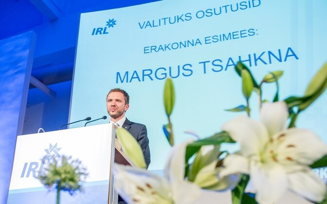 IRL's newly elected chairman Margus Tsahkna at the party congress.