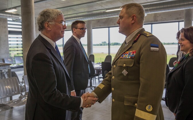 British Defence Secretary Michael Fallon meeting Estonian defense chief Riho Terras in Ämari Air Base earlier this year
