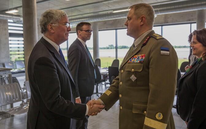 British Defence Secretary Michael Fallon meeting Estonian defense chief Riho Terras in Ämari Air Base earlier this year