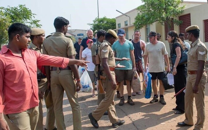 Ship guards from the Seaman Guard Ohio arrested in India in October 2013.