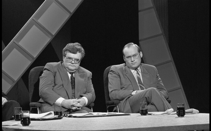 Then prime minister Edgar Savisaar and minister of the state Raivo Vare at ETV's studio in 1991