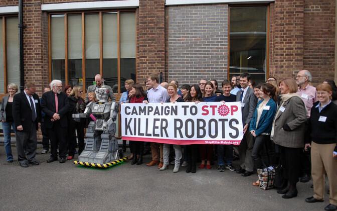Taparobotite peatamiseks loodud kampaania meeleavaldus.
