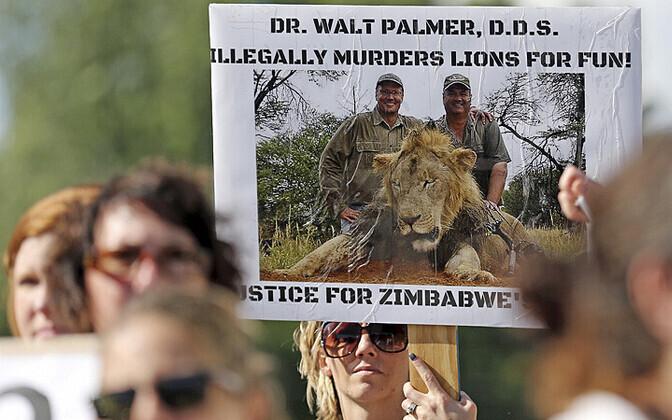 Meeleavaldajad 29. juulil Minnesotas Bloomingtonis Zimbabwes lõvi tapnud Walt Palmeri maja juures