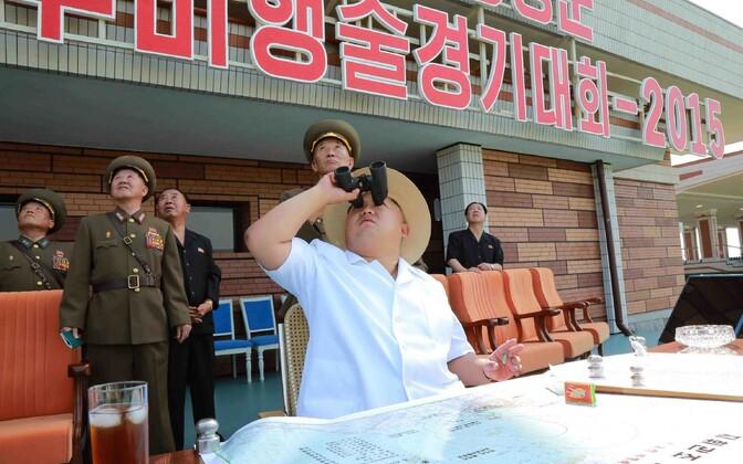 Põhja-Korea juht Kim Jong-un taevast vaatamas