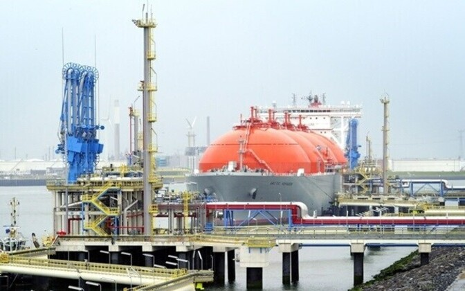 Laev tarnimas gaasi LNG terminali.