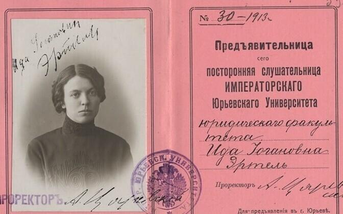 Tartu ülikoolis vabakuulajana õppinud ning hiljem advokaadiks saanud Ida Erteli üliõpilaspilet.