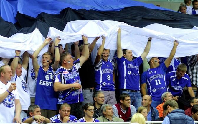 Болельщики сборной Эстонии по баскетболу.