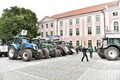 Farmers protest in front of the Parliament