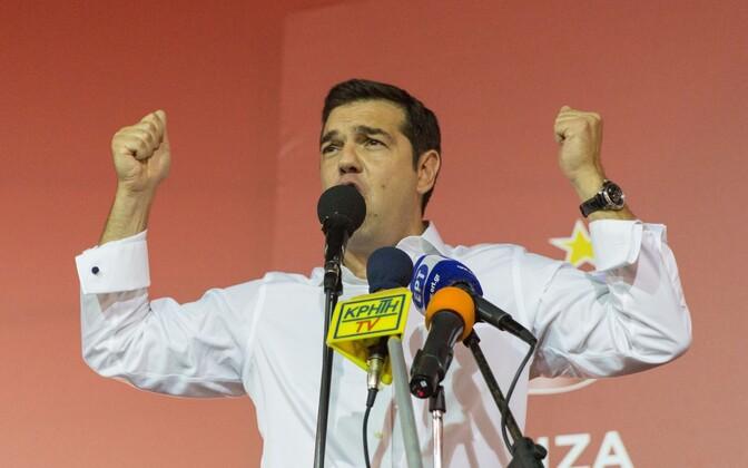 Alexis Tsipras eile pärast parlamendivalimisi võidukõnet pidamas.