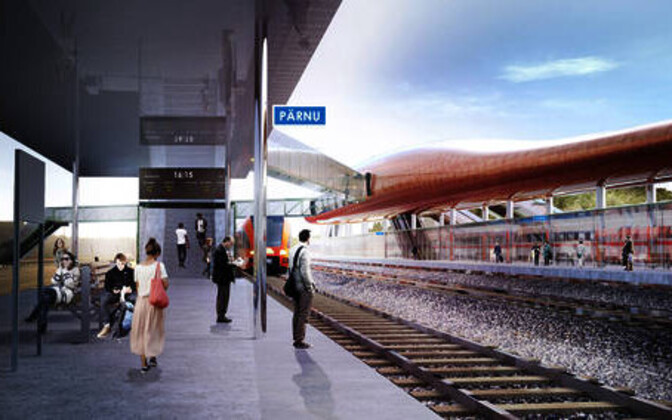 Render of the future Rail Baltica station in Pärnu.