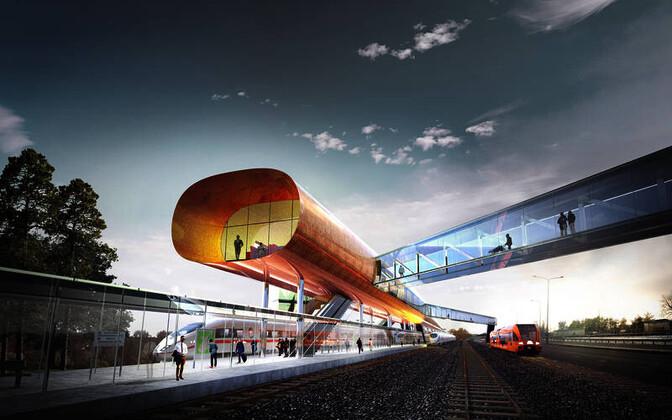 Pärnu Rail Balticu reisiterminali arhitektuurikonkursi võitnud ideekavand Water Strider .