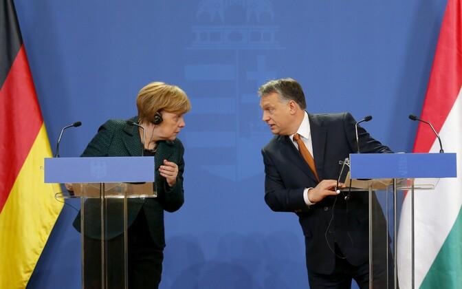 Saksamaa liidukantsler Angela Merkel ja Ungari peaminister Viktor Orban 2. veebruaril pressikonverentsil