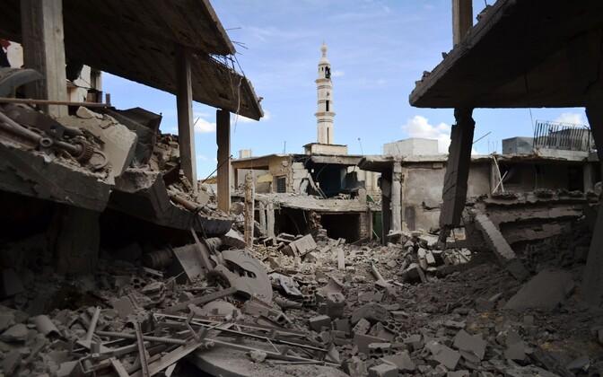 Venemaa õhurrünnaku tagajärjed täna Homsi provintsis Talbisseh' linnas