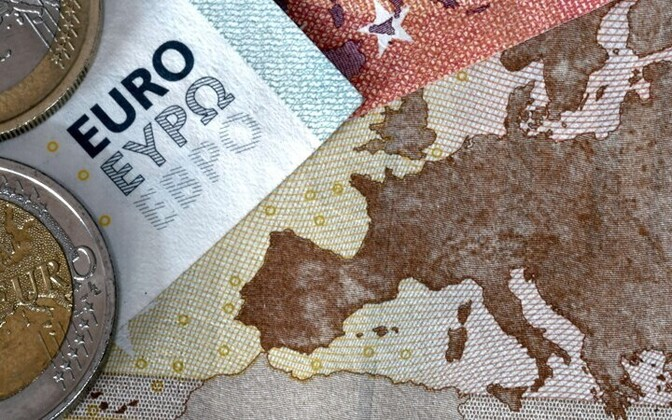 Euro coins and bills.