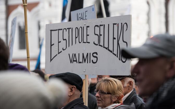 SA Euroopa Rahvusrinde, EKRE ja RÜE poolt korraldatud immigratsioonivastane meeleavaldus