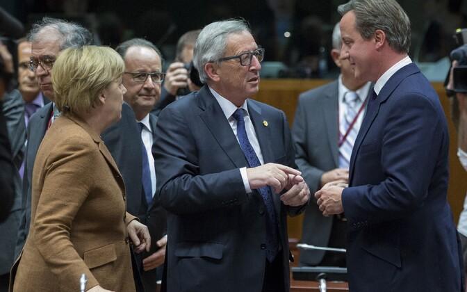 Saksa liidukantsler Angela Merkel, Euroopa Komisjoni president Jean-Claude Juncker ja Suurbritannia peaminister David Cameron