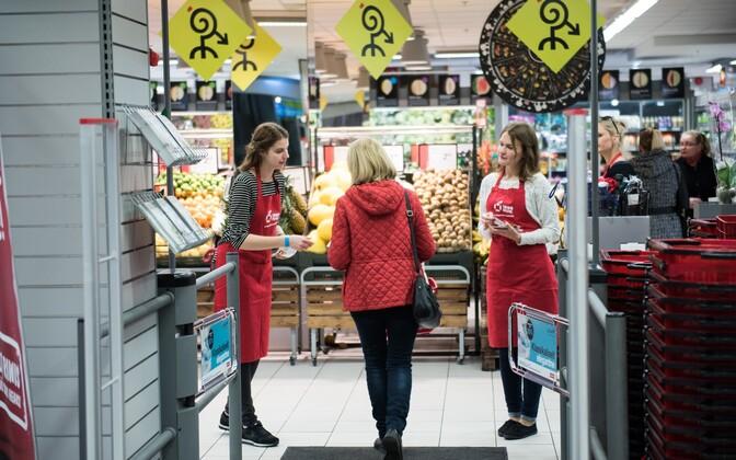 Акция продуктового банка в торговом центре Mustika в Таллинне.