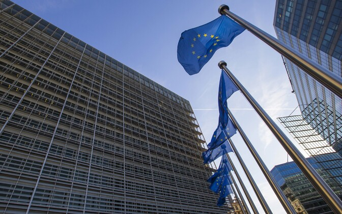 Euroopa Liidu lipud Euroopa Komisjoni peahoone juures Brüsselis