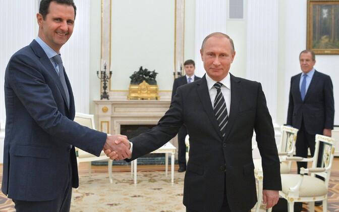 Presidendid Bashar al-Assad ja Vladimir Putin 21. oktoobril Kremlis.