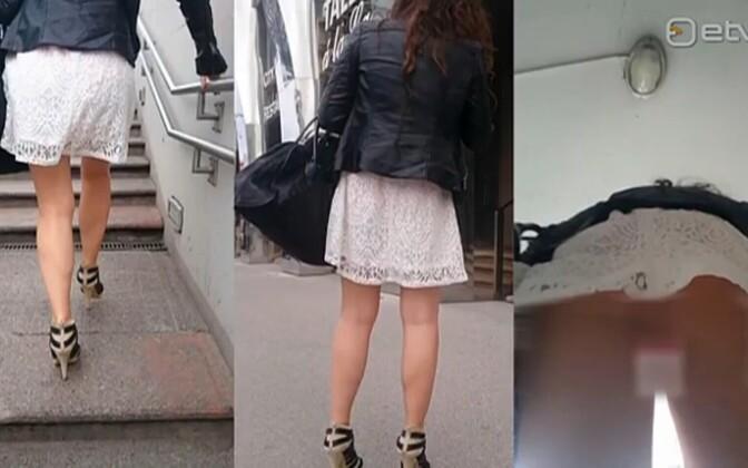 Видео подглядывание под юбки школьницам