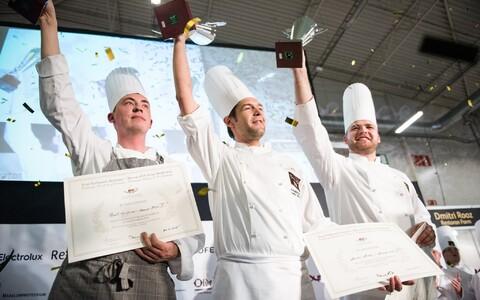 Bocuse d'Or kokkade võistlus Toidumessil 2015. Võitja Dmitri Rooz (restoran Farm) keskel.