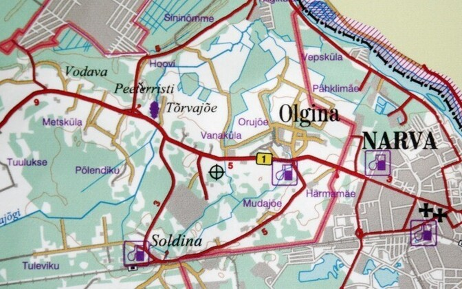 Olgina alevik asub Narvast loodes, 5 km kaugusel kesklinnast