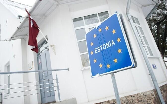 Граница между Эстонией и Латвией в городе Валга.