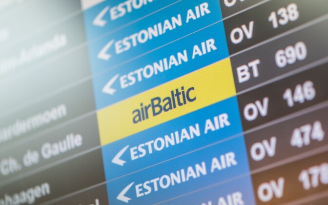 Lennuinfo tabloo Tallinna lennujaamas.
