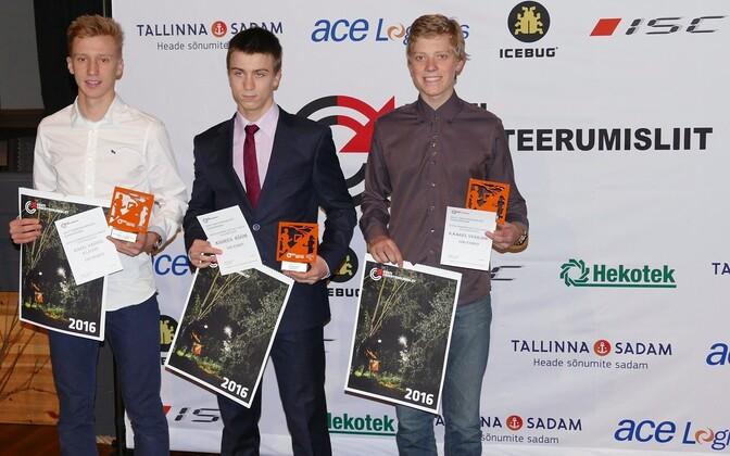 """""""Aasta tegijaks"""" valitud noorte teatemeeskonnad (vasakult): Karel-Sander Kljuzin, Andres Rõõm, Kaarel Vesilind"""