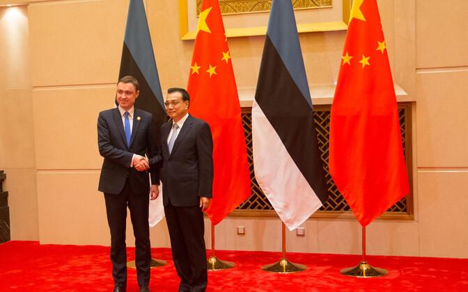 Eesti peaminister Taavi Rõivas ja Hiina peaminister Li Li Keqiang