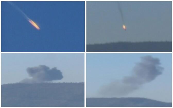 Fotod Vene sõjalennuki Su-24 alla tulistamisest.