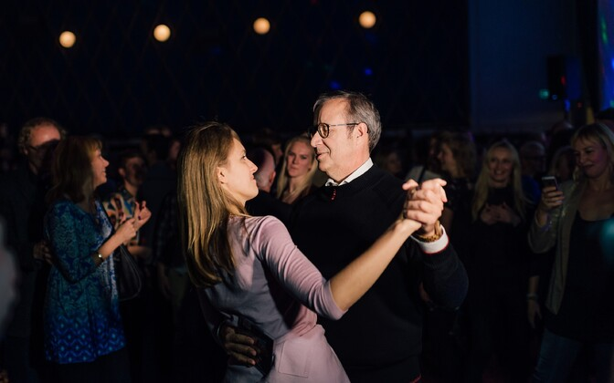 At the launch of the compilation album by Toomas Hendrik Ilves. Ilves and Ieva Kupce dancing